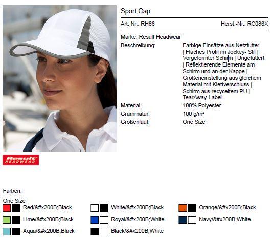Abbildung Sport Cap RH86