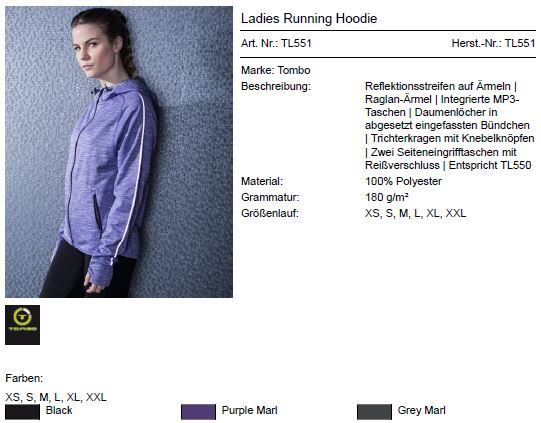 Ladies Running Hoody